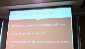Presentation on blogging and the impact on learners.